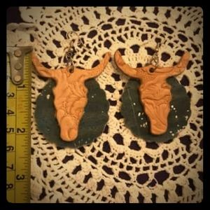 Handmade Leather Bull Earrings